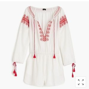 J crew Embroidered Cotton Linen Beach Romper Med